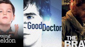 Lundi 25/9 : reprise des séries CBS, arrivées de The Good Doctor, Young Sheldon, The Brave