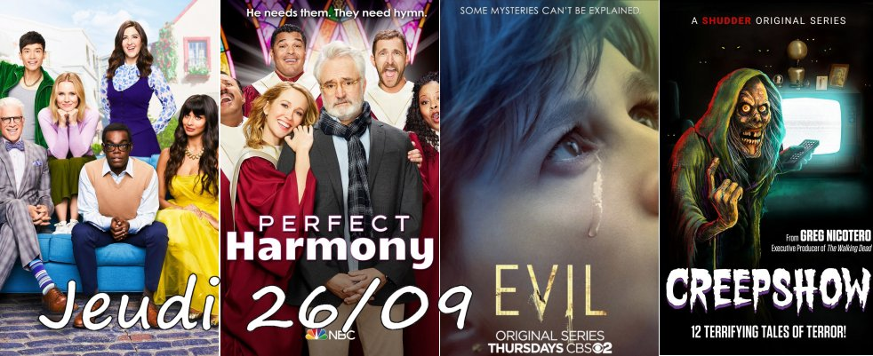 Jeudi 26/09, ce soir : The Good Place, Evil, HTGAWM, Creepshow et 10 autres