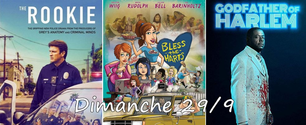 Dimanche 29/09, ce soir : The Rookie, Simpsons, Bless the Harts, Godfather of Harlem